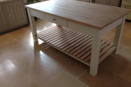 BUTCHERS BLOCK WITH OAK TOP & PAINTED FRAME